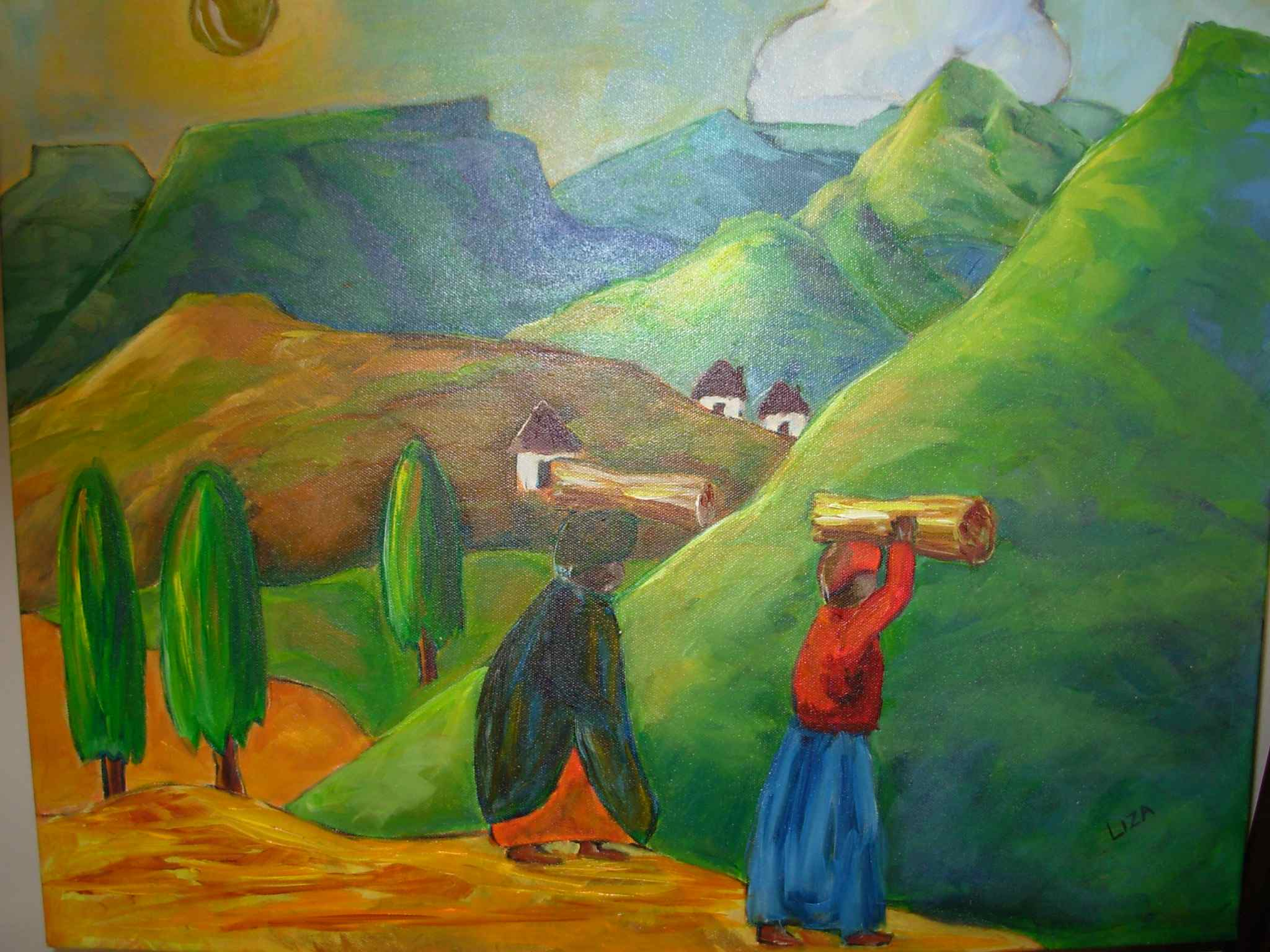 Landscape with wood carriers